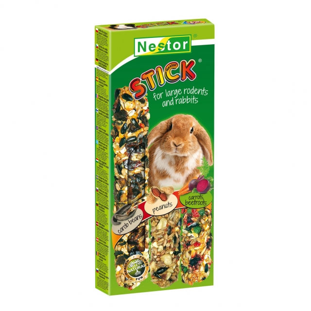 """NESTOR Stick clásico """"3 en 1"""" con algarroba/cacahuetes/verduras Conejos y Roedores grandes 175g - 3 unid."""