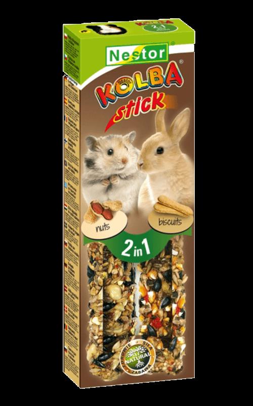 """NESTOR Stick clásico """"2 en 1"""" con bizcocho/nueces Conejos y Roedores 115g - 2 unid."""