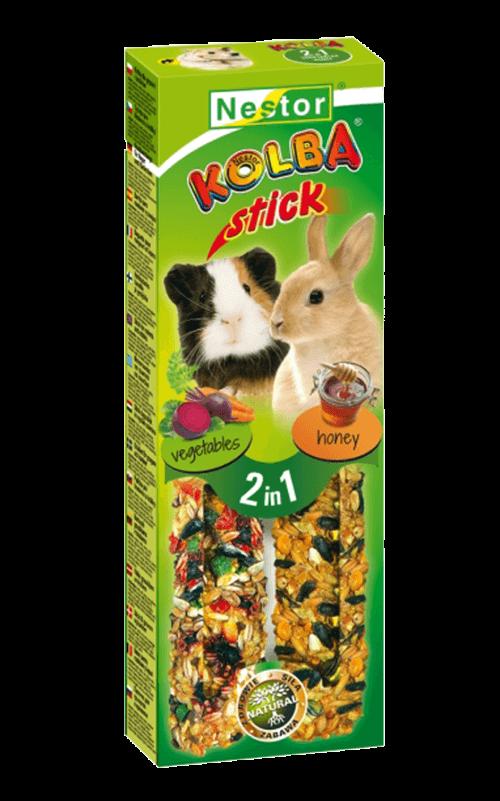 """NESTOR Stick clásico """"2 en 1"""" con miel/verduras Conejos y Roedores 115g - 2 unid."""