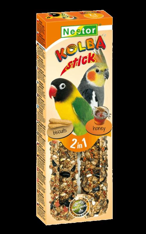 """NESTOR Stick clásico """"2 en 1"""" con bizcocho/miel Agapornis y Ninfas 115g - 2 unid."""