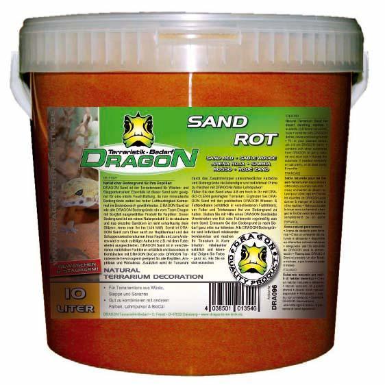 Sand roja 10 l en cubo, sin polvo, apta para acuarios, Dragon