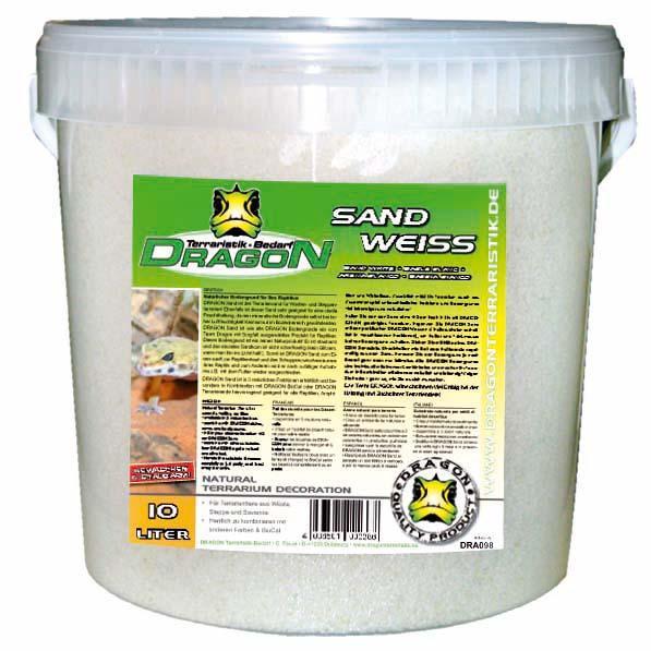 Sand blanca 10 l en cubo, sin polvo, apta para acuarios, Dragon