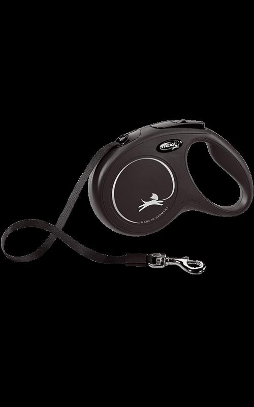 Flexi New Classic cinta XS Negra Correa extensible para Perros