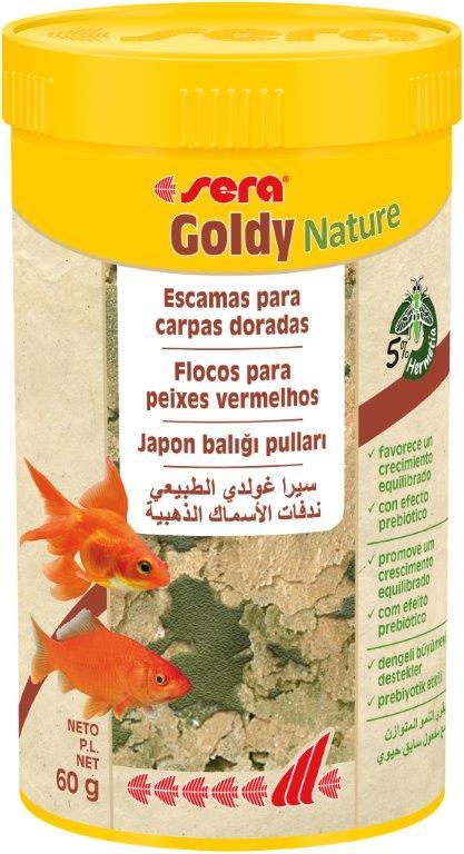 SERA Goldy Nature 250ml (alimento peces agua fría, en escamas)