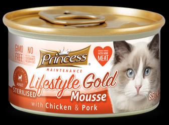 PRINCESS Lifestyle Gold Mousse Pollo y Cerdo 85g Comida húmeda para gatos