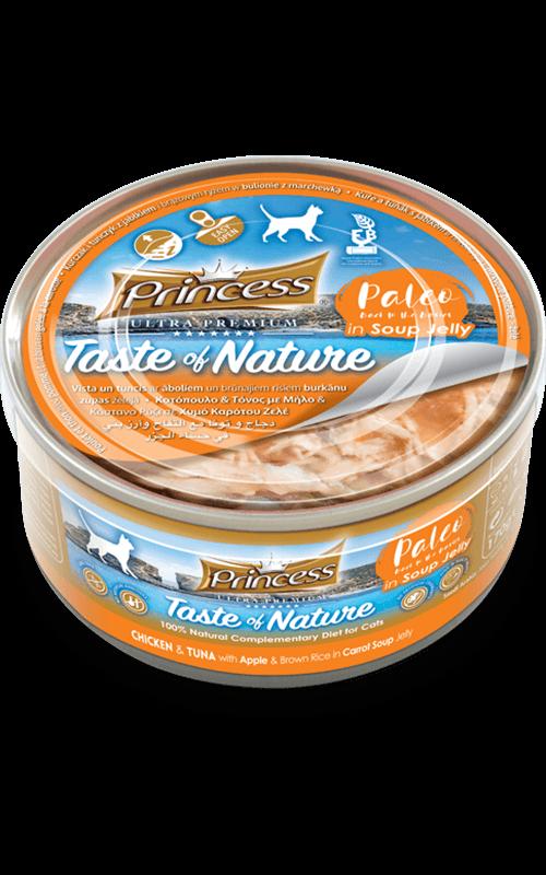 PRINCESS Paleo Pollo y Atún con manzana y arroz Integral en gelatina de sopa de zanahorias 170g Comida húmeda para Gatos