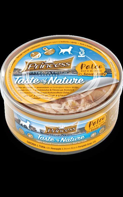 PRINCESS Paleo Pollo y Atún con piñay arroz integral en gelatina de sopa de calabaza 170g Comida húmeda para Gatos