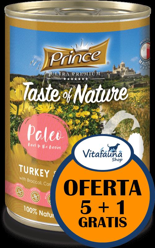 PRINCE Paleo Pavo y Trucha con Brócoli 400g comida húmeda para perros // PACK 5+1
