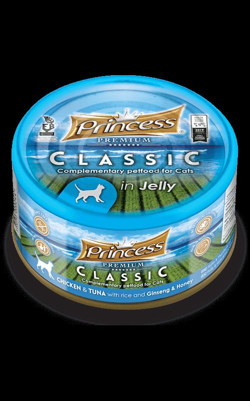 PRINCESS Classic Pollo y Atún con Arroz, Ginseng y Miel 170g Comida húmeda para gatos
