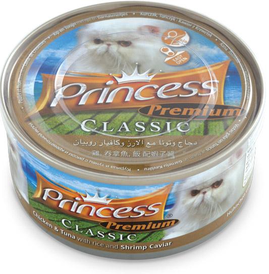 PRINCESS Classic Pollo y Atún con Arroz y Caviar de Gambas 170g Comida húmeda para gatos