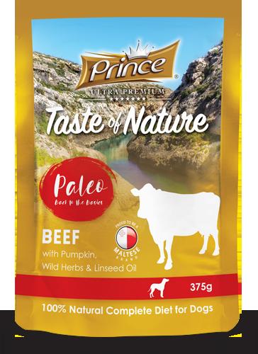 PRINCE Paleo Carne de Vacuno con Calabaza 375g Comida húmeda para Perros