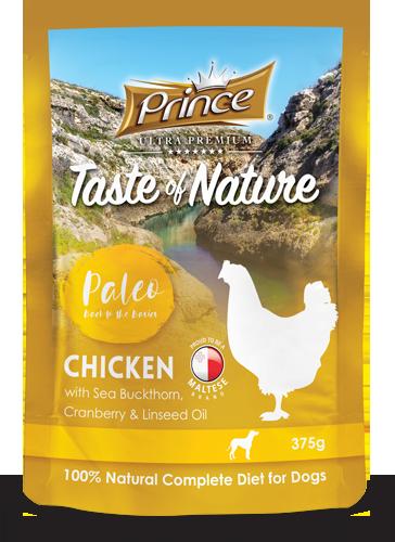 PRINCE Paleo Pollo con Arándanos 375g Comida húmeda para Perros