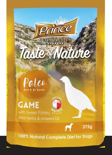 PRINCE Paleo Carne de Caza con Batata 375g Comida húmeda para Perros