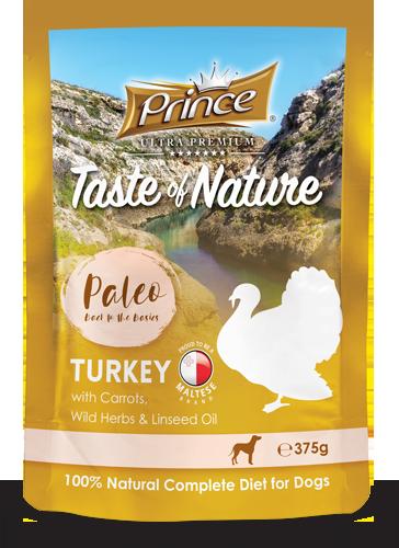 PRINCE Paleo Pavo con Zanahorias 375g Comida húmeda para Perros