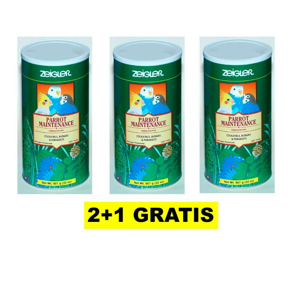 ZEIGLER Pienso mantenimiento Loros pequeños 900 g // PACK 2+1